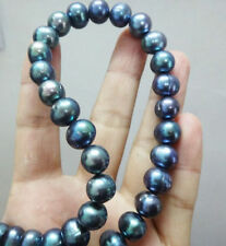 GENUINE  9-10MM TAHITIAN BLACK PEARL NECKLACE 18inch 14k