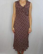 LAURA años 90 Vintage Estampado Floral Borgoña ASHLEY sensación de Seda Vestido Shift Talla 12