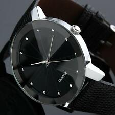 Luxury Quartz Men's Military Sport Stainless Steel Dial Leather Band Wrist Watch