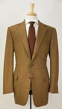 $2695 ERMENEGILDO ZEGNA Golden Brown Plaid Check Wool Blazer Jacket 44 L