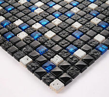 VERY PRETTY 30x30cm MOSAIC TILE BLACK BLUE GRAY NATURAL STONE GLASS ELEMENTS