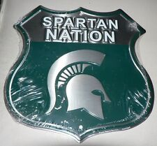 "MICHIGAN STATE ""SPARTAN NATION"" SHIELD Sign GAME DORM ROOM DEN Football Man Cave"