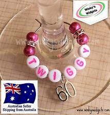 Deluxe 60th Birthday Wine Glass Charm - Personalised/Any name Party Gift Idea