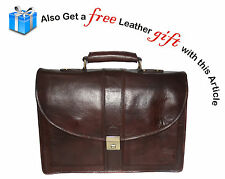 Genuine Leather Brown Messenger Shoulder Laptop File Office Executive Men Bag