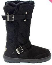 Womens Girls Ella Wide Calf Quilted Biker Fur Lined Warm Flat Winter Snug Boots