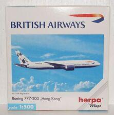 Herpa Wings BRITISH AIRWAYS Boeing 777-200 Hongkong m. Registration 1:500 506465