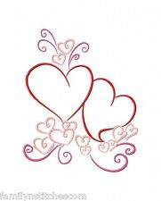 Color Outline Valentines 10 Machine Embroidery Designs on CD in 4 sizes