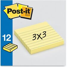 "Post-it Notes, Lined, 3""x3"", 100 Sheets/PD, 12/PK, Yellow"