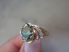 Antique Russian Style engagement 10k Yellow GOLD 1.24Ct Green DIAMOND RING