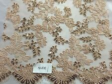 Nude Corded Flowers Embroider With Sequins On Mesh Lace Fabric-yard