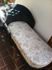 Vtg Victorian Wicker Chaise Lounge Chair W/ Upholstered Cushion Art Craft Cane
