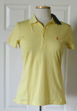 $90 NWT Womens Ralph Lauren Golf Tailored Fit Pony Logo Pima Yellow Polo Shirt S