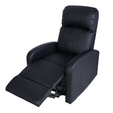 Manual Recliner Chair Lounger Leather Sofa Seat Home Theater Black New