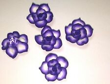 20 Fimo Polymer Clay Purple  Flower Rose Fimo Beads 25mm