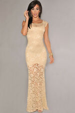 Women's Sexy Sleeveless Ivory/Black Lined Full Length Lace Formal Evening Dress