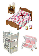 Sylvanian Families - Triple Bunk Bed, Semi-Double Bed & Baby Carriage - 3 Sets