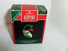 Woodland Babies`1992`Miniature-#2 In Series,Leaf Is Hanger,Hallmark Ornament,New