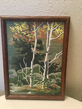 Vintage FRAMED Paint By Number beautiful painting OF LANDSCAPE