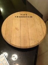 Pottery Barn Wood Napa Chardonnay Wine Barrel Lazy Susan Tray Platter