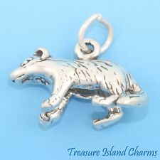 BADGER ANIMAL 3D .925 Sterling Silver Charm Pendant WISCONSIN