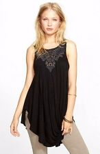 109533 New $108 Free People New World Embellished Aiden Black Tank Tunic Top S 4