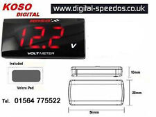 KOSO Super Slim Volt Voltmeter Meter Gauge Waterproof Cars/Motorcycles Red