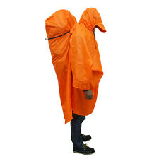 Outdoor Camping Hiking Backpack Rain Cover One-piece Raincoat Poncho Cape Orange