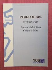PEUGEOT 106 SPECIFICATION BROCHURE INCLUDING 106 RALLYE & 106 XSi  (PB 54/55)
