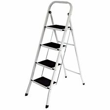 Foldable Kitchen Safety Ladder 4 Step Non Slip Mat Tread Folding Stepladder