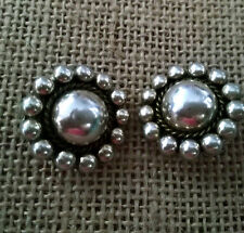 """Solid Sterling Silver LARGE BUTTON Earrings Clip On - Made in Mexico - 1.25"""""""