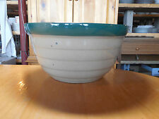 Western Monmouth Pottery IL USA Mixing Bowl Green Trim 10 in Green inside
