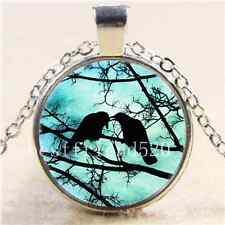 The Courtship of Crows Cabochon Glass Tibet Silver Chain Pendant  Necklace