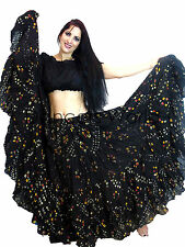 Noir polka dot tribal gypsy 25 yards yard belly dance folk coton jupe ats R1