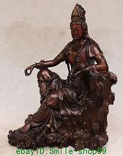 """16"""" Chinese Bronze Gilt Kwan-yin Guanyin On Lotus Shakyamuni Buddha Seat Statue"""