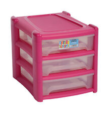 Shallow 3 Drawer Plastic Storage Unit For Office A4 Paper Organizer Durable PINK