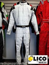 Sparco/Lico  Go Kart Racing Suit FIA Silver/Black  Size  X Large 60 [In the USA]