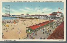 1936 The Atlantic City Steel Pier Postcard General Motors Texaco Sign New Jersey