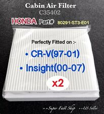 x2 Honda CRV Insight Quality AC CABIN AIR FILTER C35402 CRV97-01 & Insight 00-07