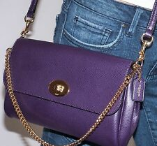 NWT Coach Ruby Aubergine Purple Crossgrain Leather Crossbody Shoulder Bag 54849