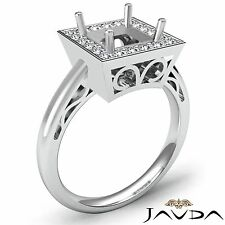 Halo Diamond Engagement Princess Semi Mount Filigree 0.36Ct Ring 18k White Gold
