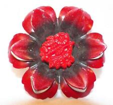 Curtain Tieback Pin Back Red & Black Poppy Flower Vintage Retro