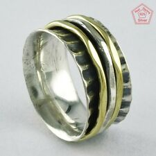 Size 8.5 US, TWO TONE OXIDIZED 925 STERLING SILVER SPINNER RING, RN4391