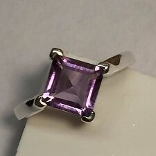 Natural Princess Cut 1.5ct Amethyst 925 Solid Sterling Silver Solitaire Ring 6.5