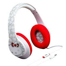 Hello Kitty Headphones Over the Ear by iHome Built in Microphone Kids White Red