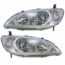 New Headlights Headlamps Lights Lamps LH & RH Pair Set for 04-05 Honda Civic