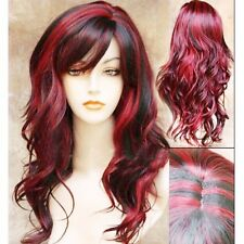 Lolita Black Red Ombre Full Wig Long Curly Wavy Hair Cosplay Costume Womens Wigs