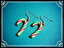 ** Xmas Candy Cane earrings- Handmade Christmas stocking filler fimo  **
