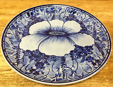 Mexican Pottery Ceramica Artistica Gomez Blue Big Pansy 1 Dinner Plate Floral