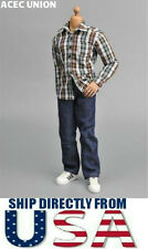 U.S. SELLER - 1/6 Scale Dark Green Red Plaid Long Sleeves Shirt Jeans Set