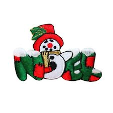 """ID 8025 Snowman """"Noel"""" Christmas Patch Holiday Stocking Decor Iron-On Applique"""